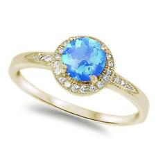 Halo Yellow Gold Plated Blue Opal & Cubic Zirconia .925 Sterling Silver Ring