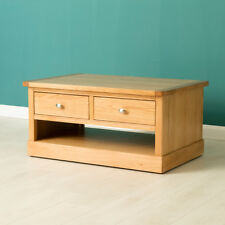 Hampshire Oak Coffee Table with Drawers / Light Oak Lounge Table / Solid Wood