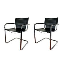Pair of Mid-Century Modern Leather and Chrome Cantilever Chairs by Mart Stam