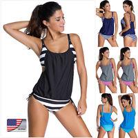 New Hot Women Tankini Bikini Set Push-up Padded Swimsuit Bathing Suit Swimwear