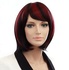 BOB STYLE Sweeping Side Fringe Black & Red Blend Short Lady Wig! VOGUE Wigs UK