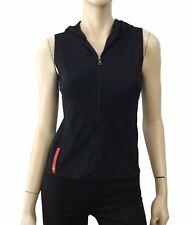PRADA SPORT Black Stretch Nylon Zip Front Hoodie Vest S BRAND NEW