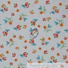 BonEful Fabric Cotton Quilt VTG White Red Mushroom Blue Bird Yellow Flower SCRAP