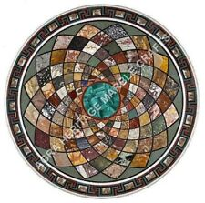 """30"""" Multi Inlay Gemstone Marble Round Coffee Center Table Top Patio Decor H4797A"""