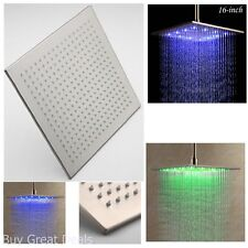 16 Inches Brushed Nickel Brass Rain Shower Head LED Colors Sprayer Bath Light