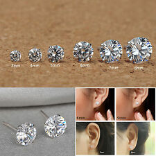 925 Sterling Silver Clear Round CZ Cubic Zirconia Tiny 2mm-8mm Stud Earrings UK
