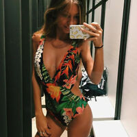 Womens Bathing Suit Swimwear Flower Bikini Monokini Swimsuit Beachwear Brazilian