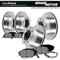 Front & Rear Brake Rotors And Metallic Pads For 1999 2000 2001 2002 F350 Dually
