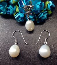 Genuine Freshwater Pearl Necklace Earring Set S925 Silver Bridesmaid Gift