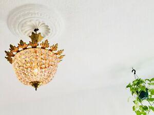 "✨ 16"" 1-Light Antique Semi Flush Mount Crystal Chandelier European Bag Lamp ✨"