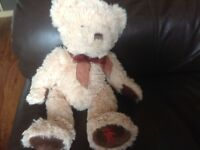 MARKS AND SPENCER POLAR BEAR TEDDY PINK STRIPE SOFT TOY COMFORTER