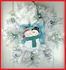 Handmade Christmas Large WREATH Winter LET IT SNOW Ribbons Blue-White Door Decor