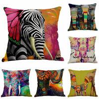 Oil Painting Elephant Cotton Linen Waist Cushion Cover Pillow Case Home Decor