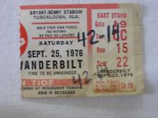 VINTAGE 1976 ALABAMA VS VANDERBILT FOOTBALL TICKET STUB
