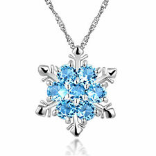 Sterling SILVER Frozen SNOWFLAKE SWAROVSKI Elements Crystal Pendant NECKLACE L23