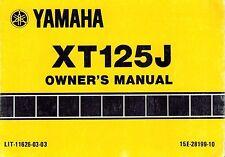"""YAMAHA  XT125J MOTORCYCLE  OWNER'S MANUAL 1988 """"NEW"""""""
