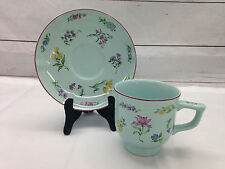 Strasbourg by Georges Briard Cup & Saucer Celery Green Floral Design