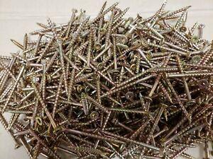 """8 x 2"""" Torx zinc yellow flat head wood screws 500pc."""