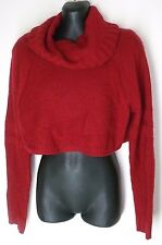 SMALL Victoria's Secret Moda International RED CROPPED SWEATER KNIT TURTLENECK