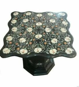 """30"""" Marble Table Inlay Pietra Dura Art handmade work with 18"""" marble Stand"""