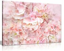 Pastel Pink Flowers Floral Canvas Wall Art Picture Print