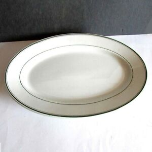 "Scammells China VTG Restaurant Ware Platter 9.5x13.5"" oval green stripes FREE SH"