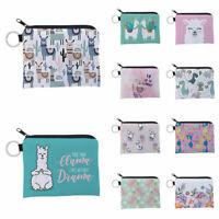 Alpaca Print Coin Purse Card Key Pouch Small Zipper Mony Bag Card Holder Wallet