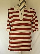 MONTEREY BAY ~Woman~SILK Blend Stripes Knit Short Sleeve Y-Neck Tunic/Top ~Sz.M
