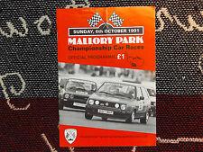 1991 MALLORY PARK PROGRAMME 6/10/91 - BRSCC CAR RACES - VW GOLF GTI COVER