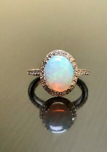 925Sterling Silver Natural Ethiopian Opal Gemstone Women Engagement Ring Jewelry