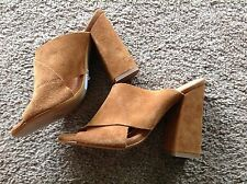 Block Heel Suede Mule Shoes for Women