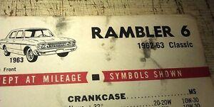 1962 1963 RAMBLER CLASSIC 6 &  AMBASSADOR V8   - TEXACO USA Lube Chart