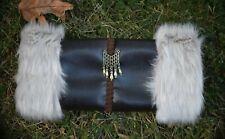 Victorian Steampunk Muff Hand Warmer Light Gray Fur Faux Leather Brass Ornament