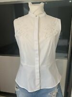 Lovely Pure White Peplum Style Blouse By H&m Size 10