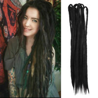 "20"" Synthetic Dreadlocks Double Ended Crochet Braid Dreads Hair Extensions Black"