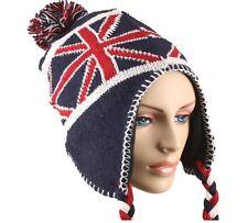 British Union Jack Flag Chullo Cap Beanie Knit Winter Stocking Alpine Hat Stripe