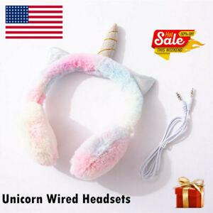Cute Unicorn Wired Warm Earmuffs Headsets Music Headphones For Kids  USA