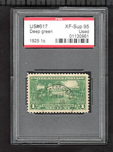 US @ 617 (1925) 1c - Used- PSE Graded: XFSup95 (Encapsulated) w/Sock-on-the-nose