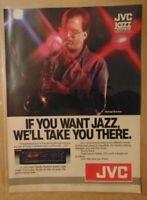 Vintage 1980's JVC STEREO 1984 Newport JAZZ SAXOPHONE Original Print Advertising