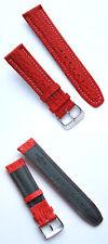 Uhrenarmband Haifisch-Leder 21mm, rot, runde Schliesse, vergoldet