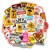 50 Warning Stickers Waterproof Decal Sticker Bomb To Laptop Skateboard Luggage