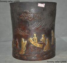 Chinese purple bronze Gilt Pine tree Old man Boy statue Brush Pot portrait vase