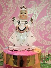 Vtg Christmas Angel W Gold Crown Holds Golden Harp Gold Star Dress Scallop Base