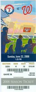 2008 Nationals vs Rangers Ticket: Brandon Boggs, Ian Kinsler, Ronnie Belliard HR