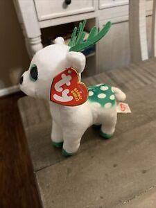 "Ty Beanie Babies PEPPERMINT Christmas Green Eyes Reindeer 6"" Plush w/ Tags"