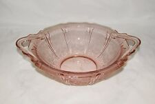 Vintage Jeannette Cherry Blossom Pink Depression Glass Serving Bowl With Handles