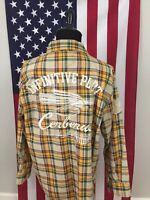 Raw Blue Urban Plaid Denim Jean Twill Shirt men's 2XL xxl embroidered l/s 1a298