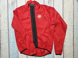 CASTELLI Cycling JACKET XXL Nylon lightweight Windstopper RED Full Zip