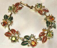 Vintage Designer TARA Aurora Borealis Rhinestone Enamel Gold Tone Link Bracelet