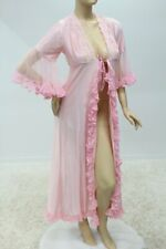Vintage Very Girly Robe Peignoir Polyester frilly Pink Diva Small Dressing Gown